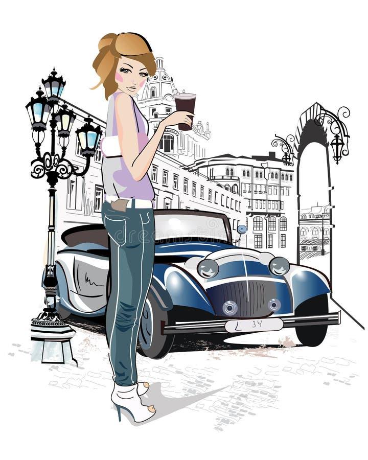 Façonnez le café potable de jeune fille dans la rue de la vieille ville illustration de vecteur