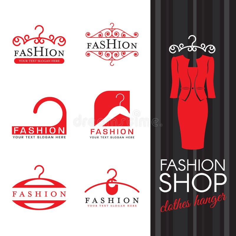 Façonnez le logo de boutique - scénographie rouge de vecteur de signe de logo de cintre illustration de vecteur