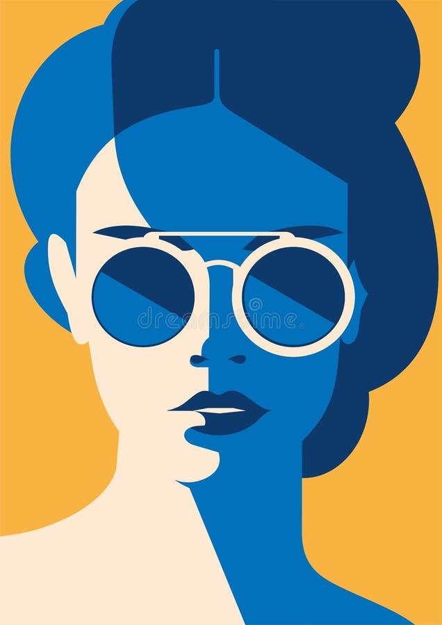 Façonnez le portrait d'une fille modèle avec des lunettes de soleil Rétros couleurs à la mode affiche ou insecte illustration libre de droits