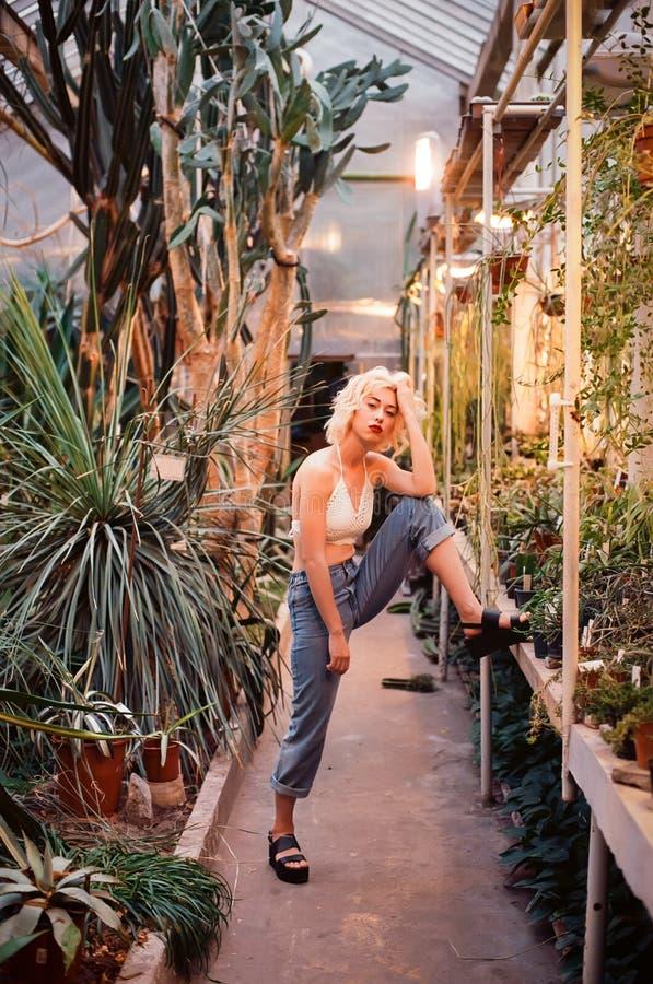 Façonnez le portrait de la belle jeune femme dans la forêt tropicale photographie stock libre de droits