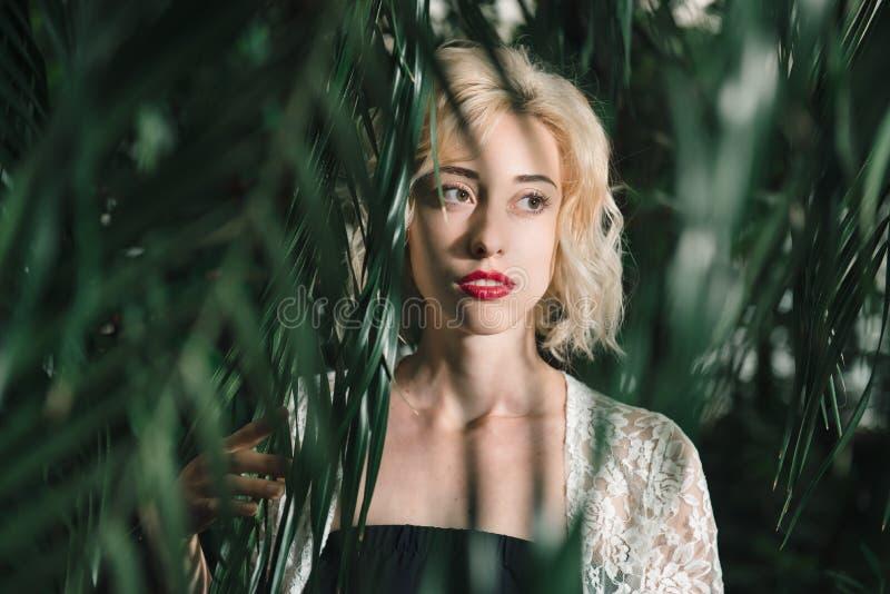 Façonnez le portrait de la belle jeune femme dans la forêt tropicale photos stock