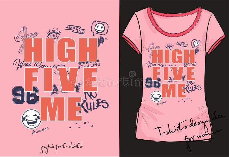 Façonnez le T-shirt à la mode pour des garçons avec marquer avec des lettres la haute cinq je illustration stock