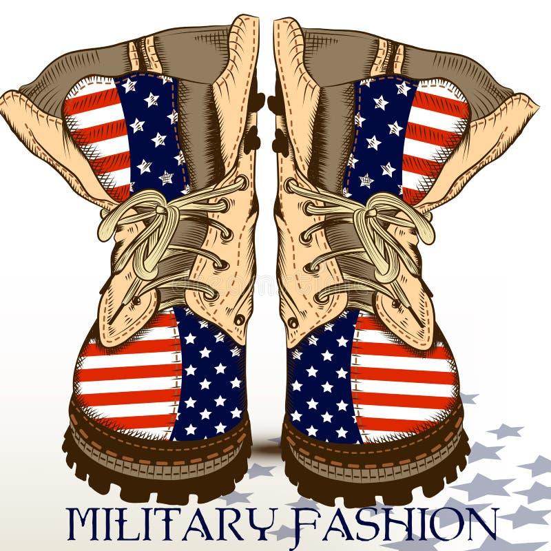 Façonnez les bottes tirées par la main dans le style militaire avec le drapeau des Etats-Unis illustration de vecteur