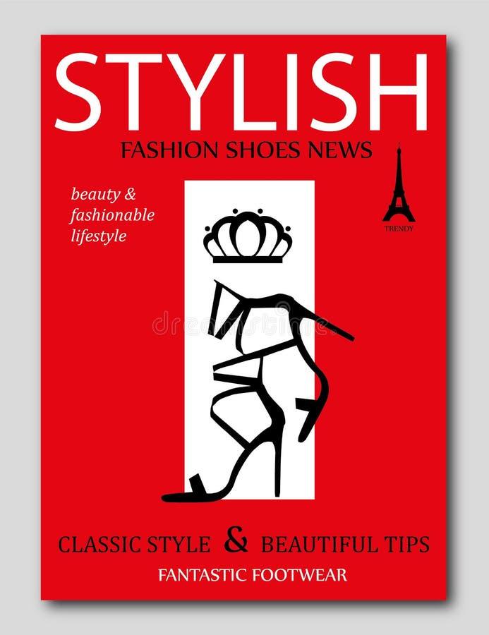 Façonnez les chaussures à la mode de talon haut de noir de silhouette sur le fond rouge Conception de couverture de revue de mode illustration stock