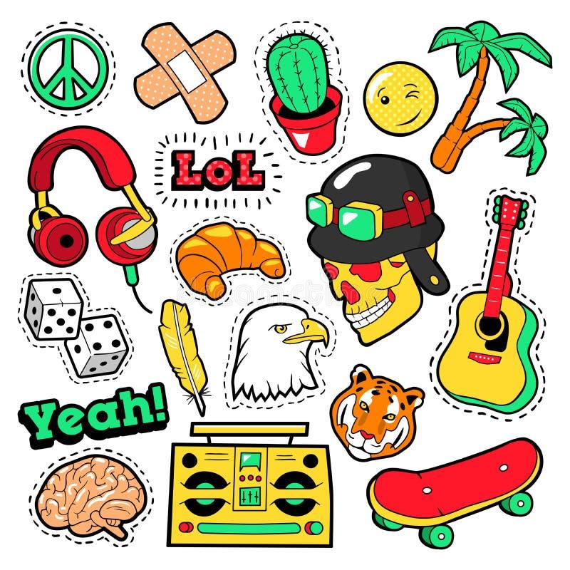 Façonnez les insignes, corrections, autocollants réglés avec les éléments hippies, planche à roulettes, le signe de paix, guitare illustration stock
