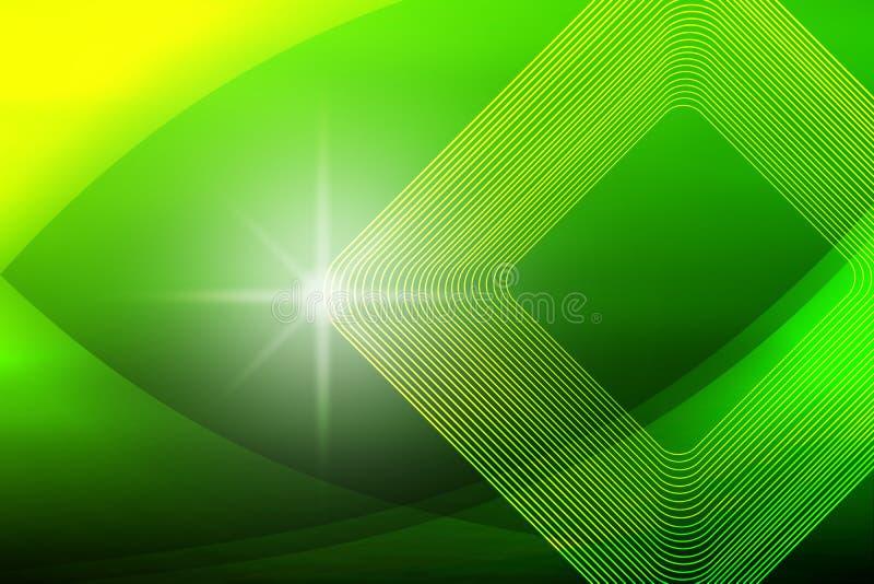 Faísca brilhante, formas quadradas e curvas no verde borrado e no fundo amarelo ilustração do vetor