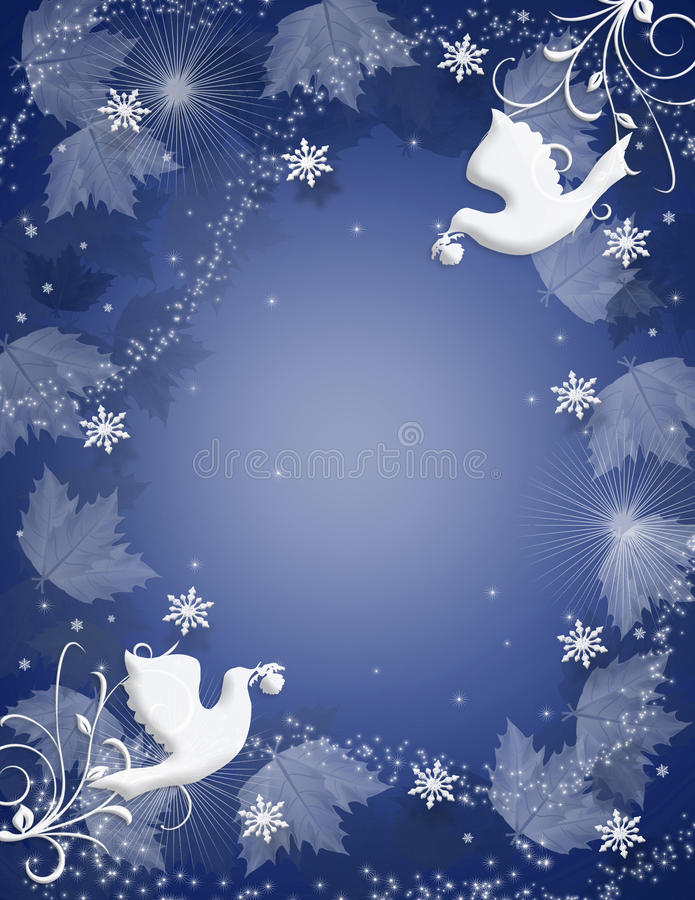Faísca das pombas do azevinho do fundo do Natal ilustração do vetor