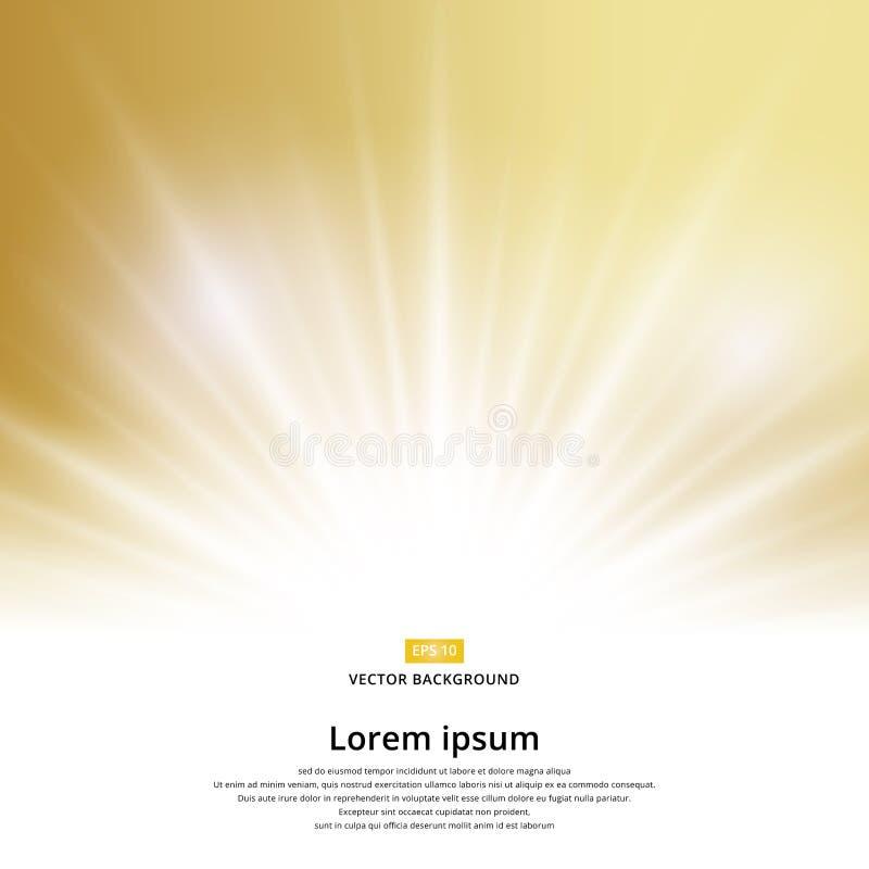Faísca do efeito da luz solar no fundo do ouro com espaço da cópia ilustração royalty free