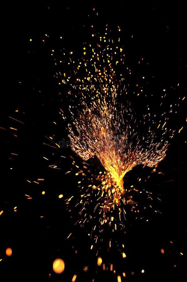 Faíscas explosivas imagens de stock