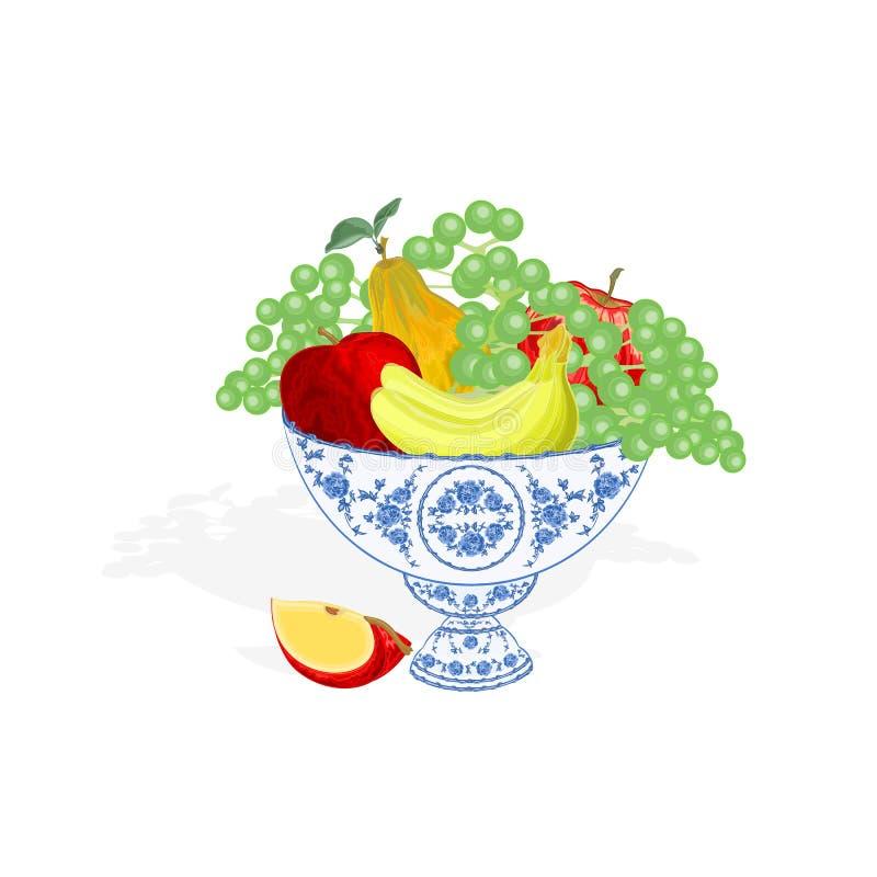 Faïencekom met fruitvector stock illustratie