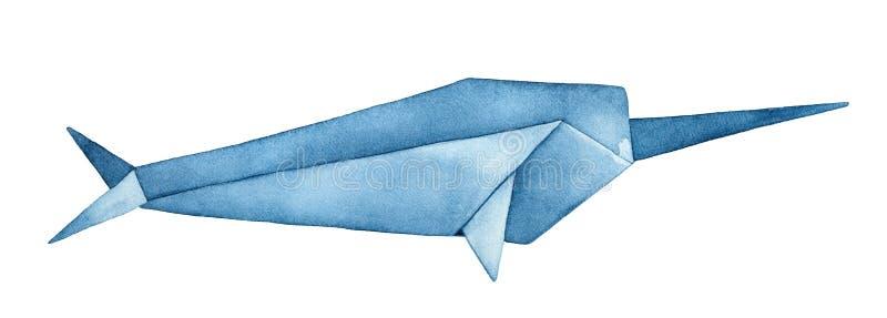 Fa?dowa Origami Narwhal akwareli ilustracja royalty ilustracja