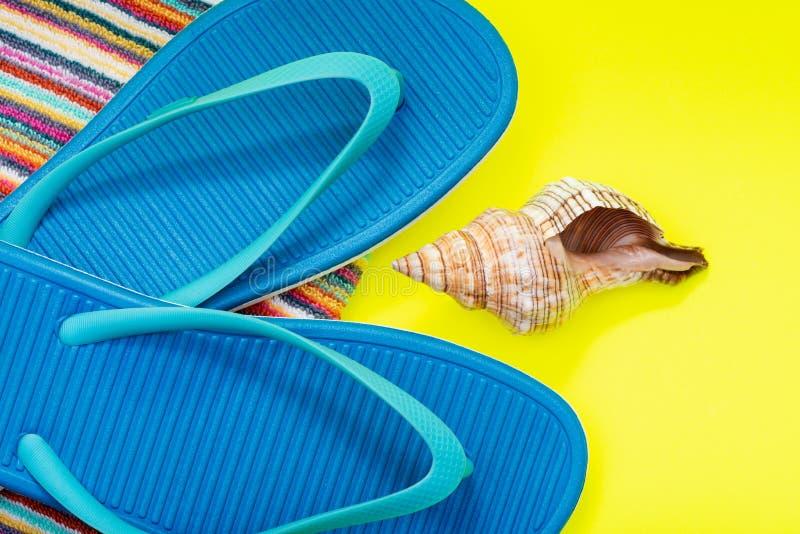 Fałdowi Kolorowi Pasiaści Organicznie Bawełniani Plażowi ręczniki, Błękitne trzepnięcie klapy i Denny Shell na jaskrawym kolorze  zdjęcia royalty free