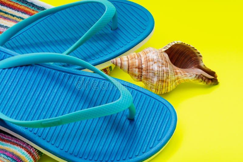 Fałdowi Kolorowi Pasiaści Organicznie Bawełniani Plażowi ręczniki, Błękitne trzepnięcie klapy i Denny Shell na jaskrawym kolorze  obrazy royalty free