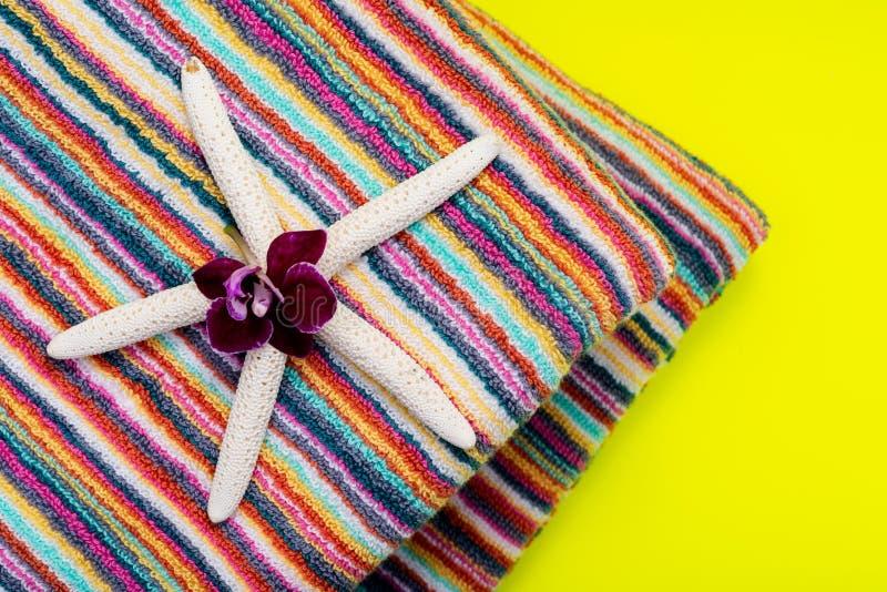 Fałdowi Kolorowi Pasiaści Organicznie Bawełniani Plażowi ręczniki dekorujący z Białego palca rozgwiazdą i Storczykowym kwiatem na zdjęcia stock