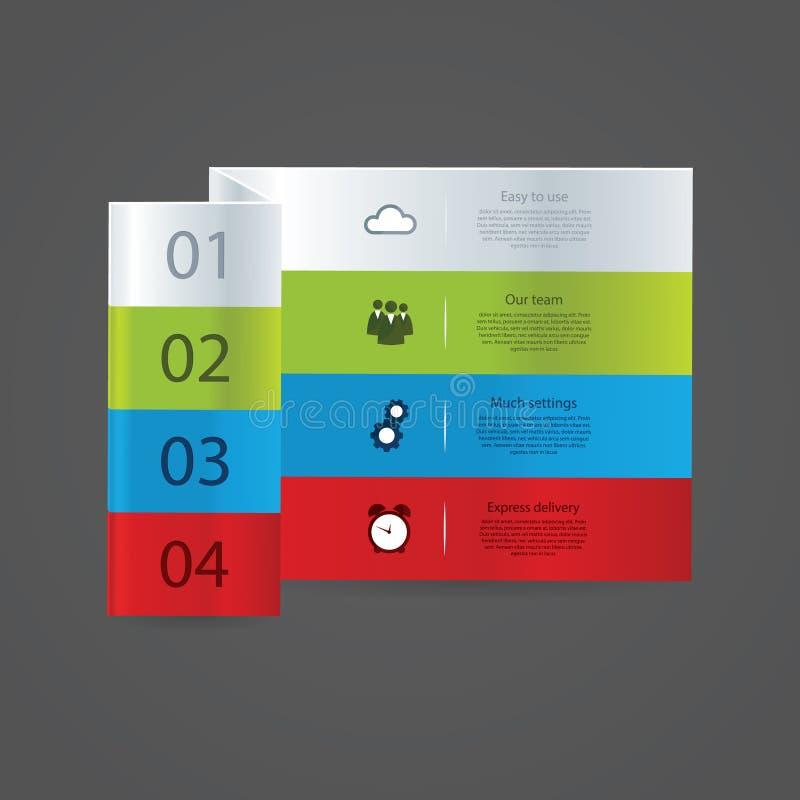 Fałdowy wektorowy szablon. Colorfully szablon - cztery wyboru, leve ilustracja wektor