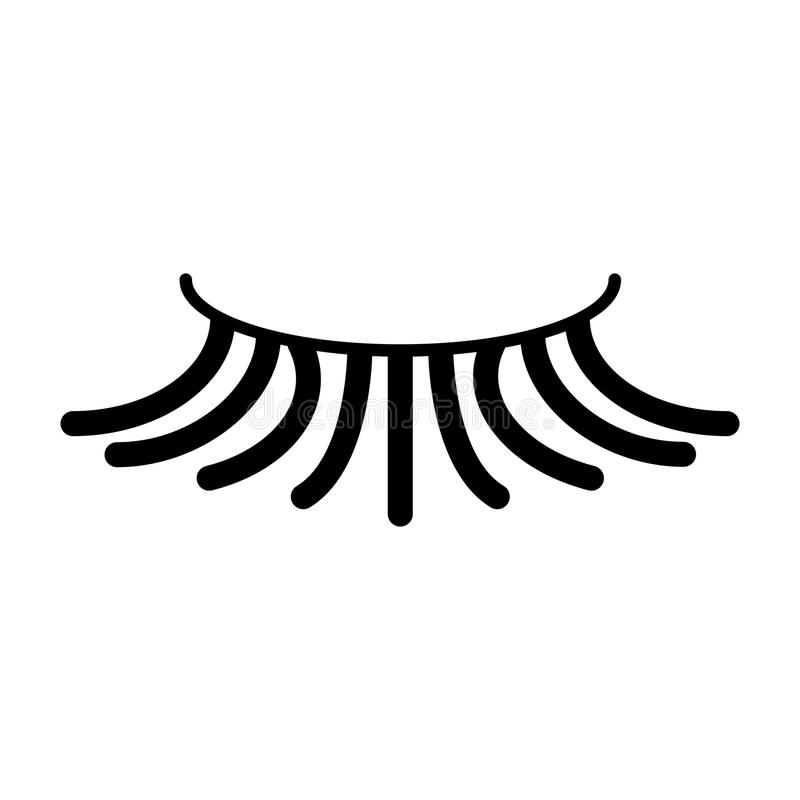 Fałszywa prosta rzęsa wektoru ikona Czarna rzęsy ilustracja na białym tle Stała liniowa piękno ikona ilustracji