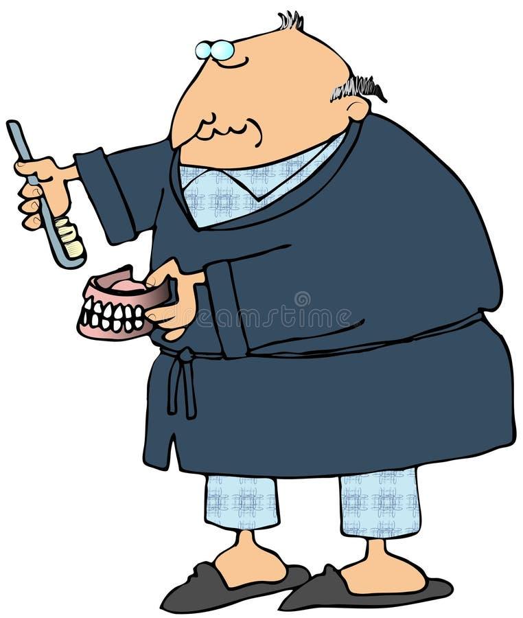 fałszywy myć jego ludzi zęby ilustracji