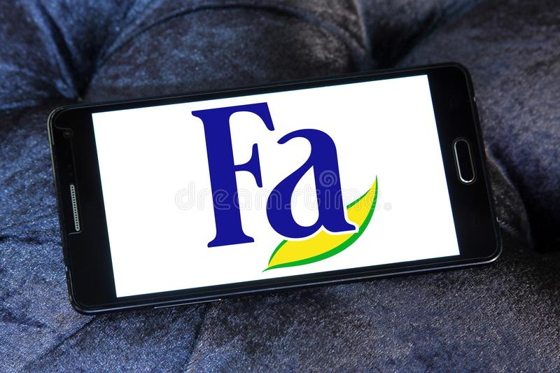 Fa brand logo. Logo of Fa brand on samsung mobile. Fa is an international brand for personal care products. It is a subsidiary of German company Henkel. Fa royalty free stock image