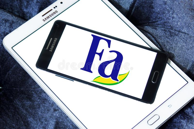 Fa brand logo. Logo of Fa brand on samsung mobile. Fa is an international brand for personal care products. It is a subsidiary of German company Henkel. Fa stock photo