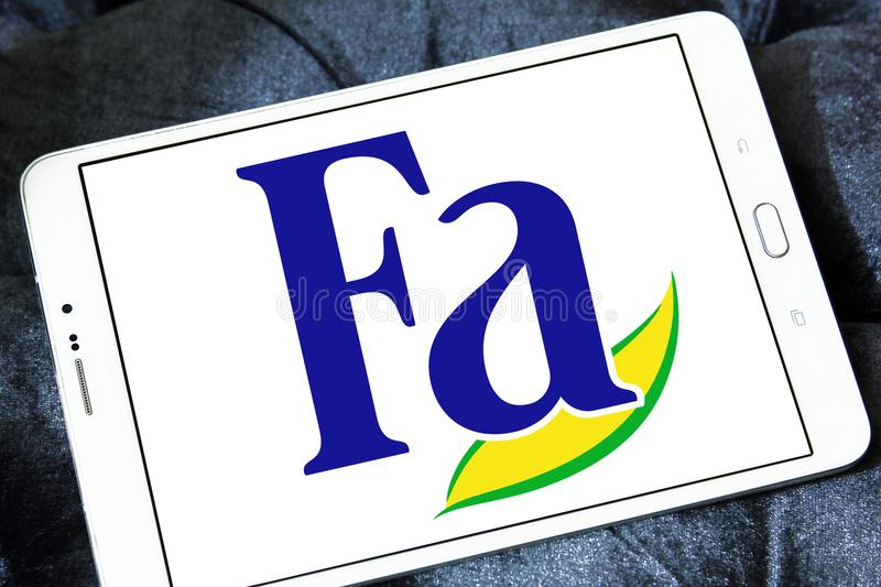 Fa brand logo. Logo of Fa brand on samsung tablet. Fa is an international brand for personal care products. It is a subsidiary of German company Henkel. Fa stock images