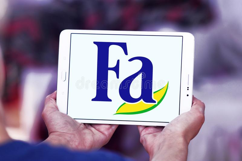 Fa brand logo. Logo of Fa brand on samsung tablet. Fa is an international brand for personal care products. It is a subsidiary of German company Henkel. Fa royalty free stock photography