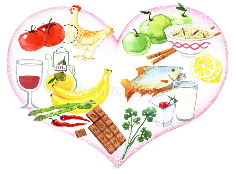 Fa?a dieta o alimento Alimento da dieta em um fundo do cora??o ilustração do vetor