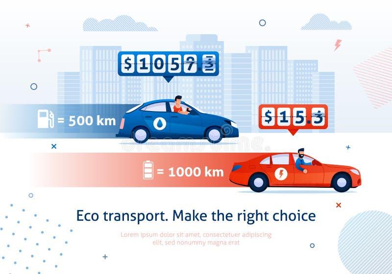 Fa?a a escolha direita Carro elétrico contra o automóvel da gasolina ilustração royalty free