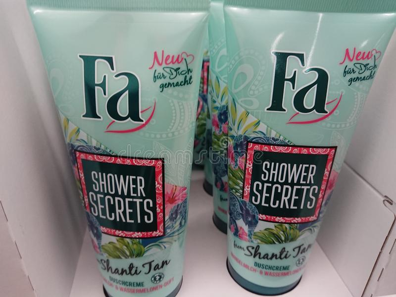 Fa shower gels for sale on supermarket shelf. Berlin, Germany - February 3, 2018: Fa shower gels. Subsidiary of German company Henkel AG, Fa is an international stock photo