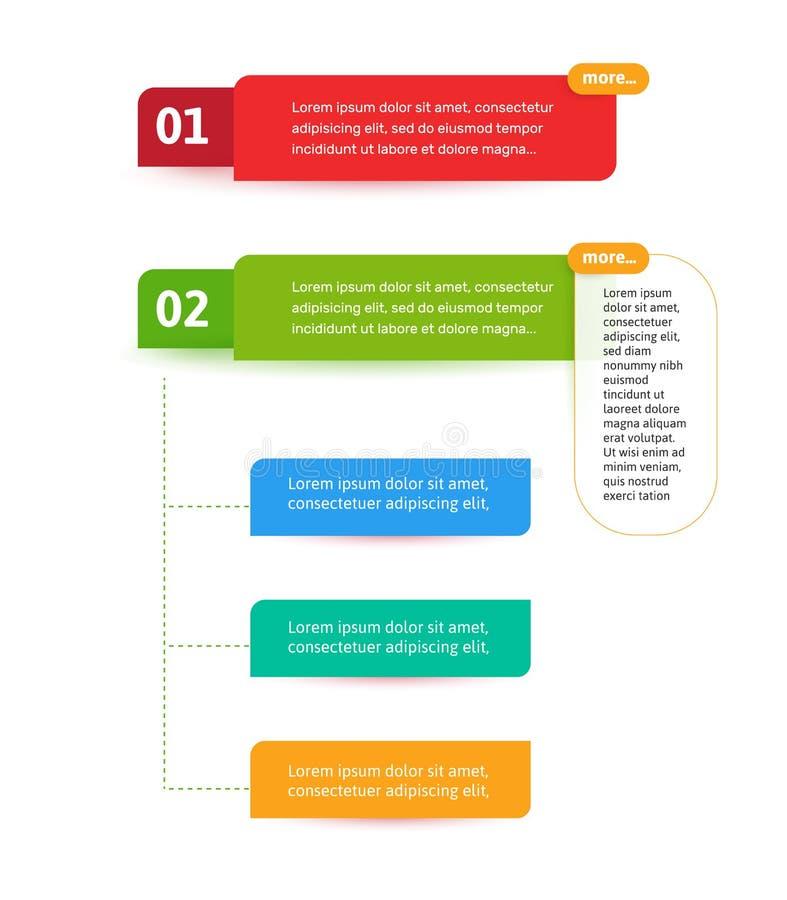 Fa un passo gli elementi per l'interfaccia di web Elemento di vettore di Infograph Modello dell'estratto di Infographic illustrazione vettoriale