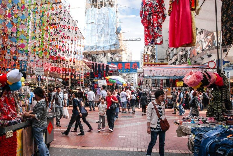 Fa Yuen Street Market i Hong Kong royaltyfri bild