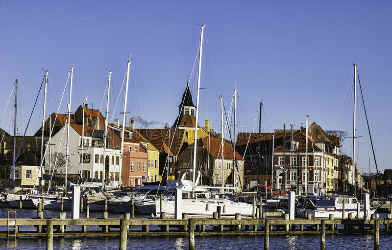 Faaborg hamn i Danmark royaltyfri foto