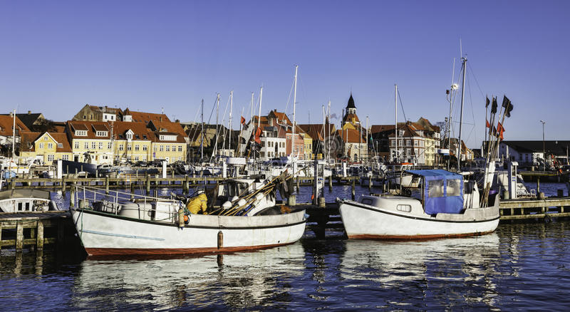 Download Faaborg harbour in Denmark stock image. Image of import - 29030627
