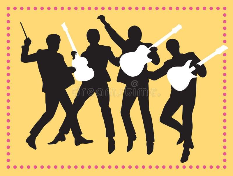 Fab Four Beatles Silhouette Vector-Illustratie stock illustratie