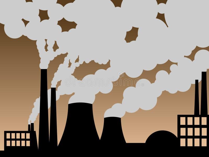 Fabbrica che erutta fuori inquinamento illustrazione vettoriale
