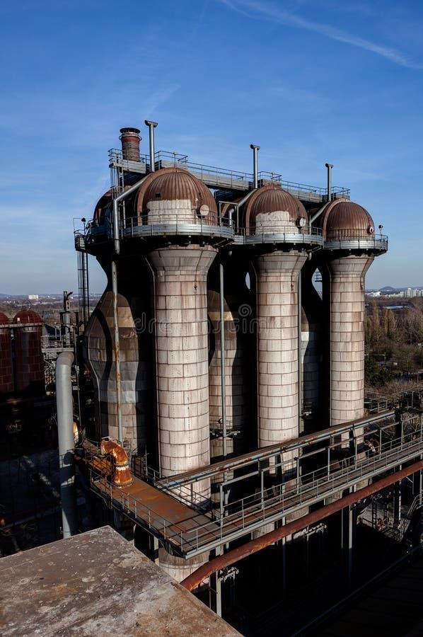 Fabbrica d'acciaio Landschaftspark, Duisburg, Germania delle fornaci del riscaldatore a aria immagini stock