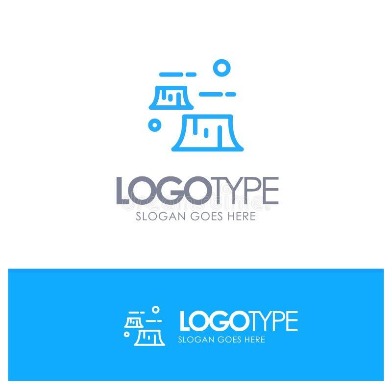 Fabbrica, danno, disboscamento, distruzione, logo blu del profilo dell'ambiente con il posto per il tagline royalty illustrazione gratis