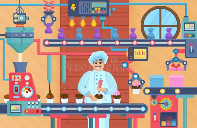 Fabbrica dei dolci del bigné con il confettiere Illustrazione di vettore del deposito della fabbrica del trasportatore del ciocco illustrazione di stock