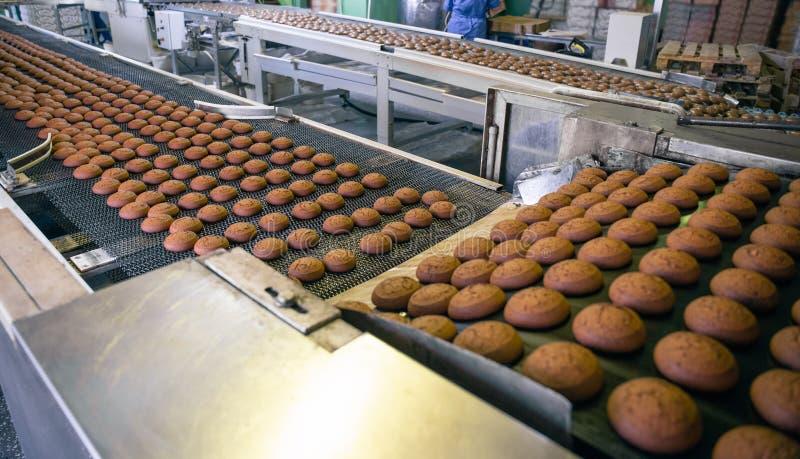 Fabbrica dell'alimento della confetteria Linea di produzione o nastro trasportatore, manifattura trattata bollente dei biscotti fotografia stock