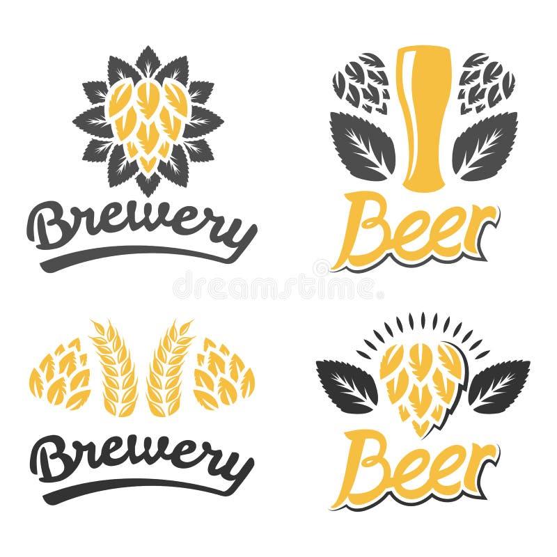 Fabbrica di birra, Antivari, logo della birra Progettazione d'annata dell'etichetta della fabbrica di birra Vetro di birra Il caf fotografia stock libera da diritti