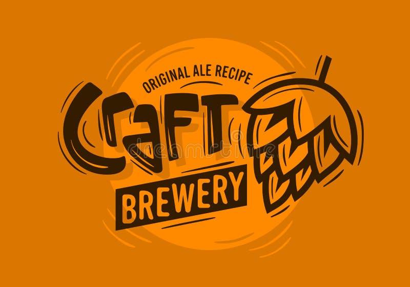 Fabbrica di birra Logo With del mestiere un'illustrazione del luppolo della birra Grafico di vettore illustrazione di stock