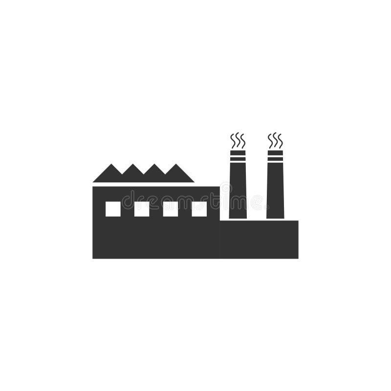Fabbrica di fabbricato industriale ed icona delle centrali elettriche pianamente illustrazione vettoriale