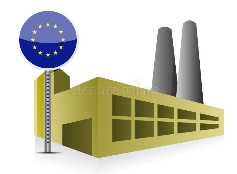 Fabbrica europea e potere del fabbricato industriale royalty illustrazione gratis