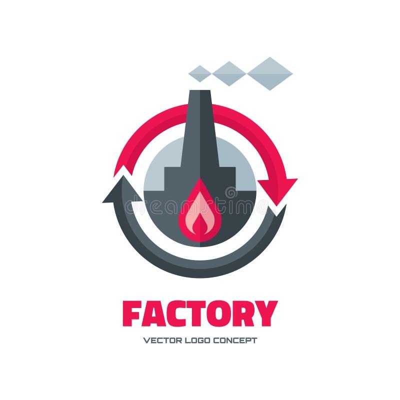 Fabbrica - illustrazione di concetto del modello di logo di vettore nello stile piano per la società di affari Illustrazione del  illustrazione vettoriale