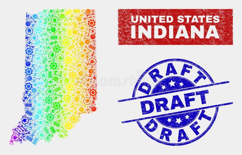 Fabbrica Indiana State Map di spettro e guarnizioni graffiate del progetto royalty illustrazione gratis