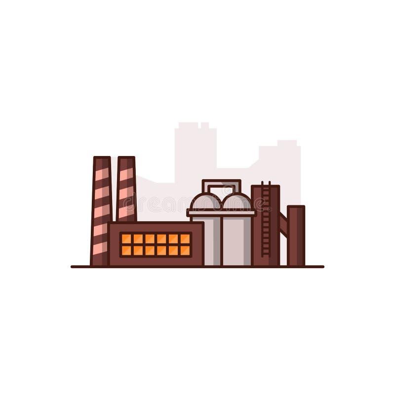 Fabbrica industriale sui precedenti bianchi Illustrazione di vettore illustrazione vettoriale