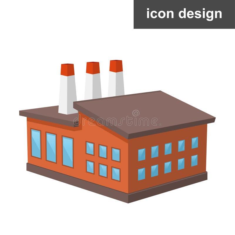 Fabbrica isometrica dell'icona illustrazione di stock