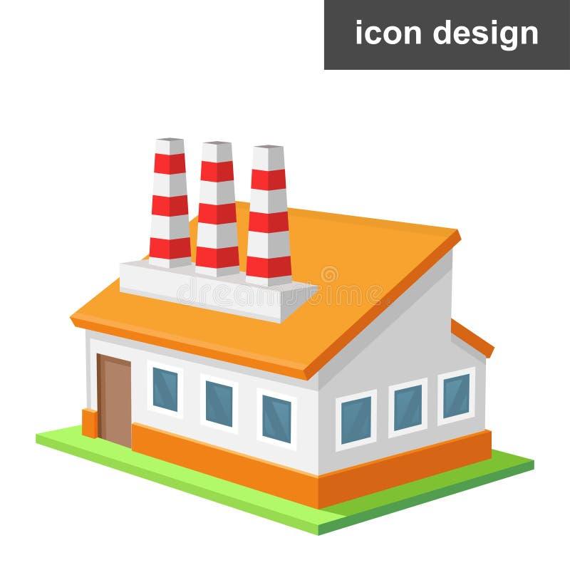 Fabbrica isometrica dell'icona illustrazione vettoriale