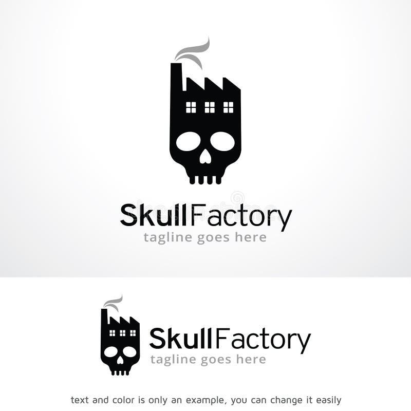 Fabbrica Logo Template Design Vector, emblema, concetto di progetto, simbolo creativo, icona del cranio illustrazione di stock