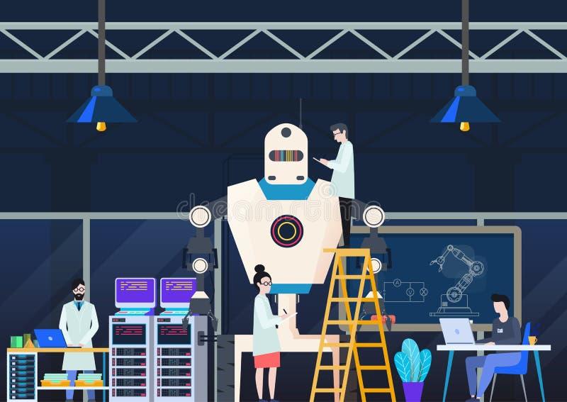Fabbrica per la fabbricazione o la produzione i robot o dei cyborg illustrazione di stock