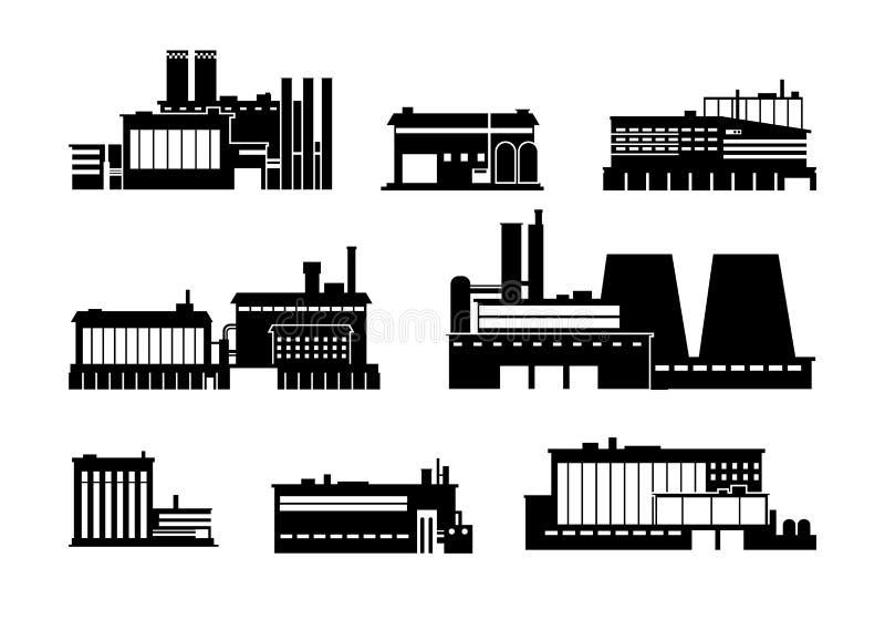 Fabbrica, potere ed icone nere della siluetta della fabbrica isolate Simboli di vettore dell'industria pesante illustrazione vettoriale